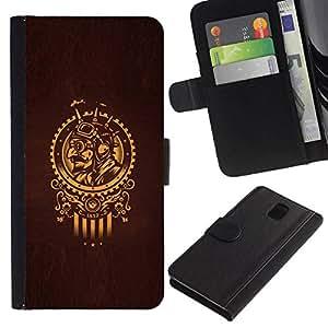 All Phone Most Case / Oferta Especial Cáscara Funda de cuero Monedero Cubierta de proteccion Caso / Wallet Case for Samsung Galaxy Note 3 III // Golden Samurai Sun Symbol Brown