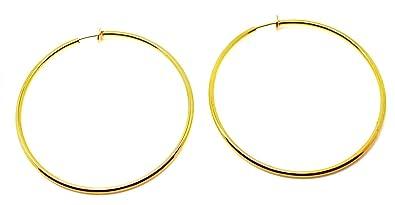 code promo 3c892 e9e24 Boucles d'oreilles créoles dorée de 6 cmm Tendance À clipser Pour femme De  taille moyenne Pour oreilles non percées