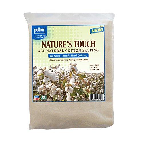 "Pellon N-81 Nature's Touch 100% Natural Cotton Batting, No Scrim - Full 81"" X 96"""