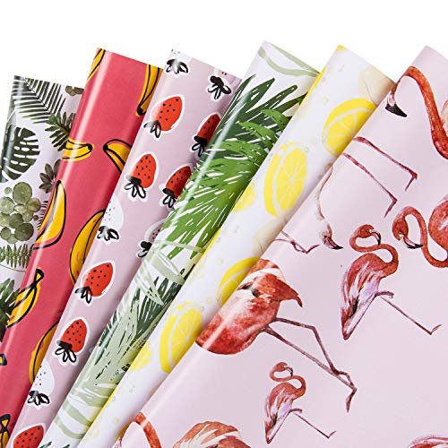 WRAPAHOLIC Gift Wrapping Paper Sheet - Flamingo/Plants/Banana/Strawberry/Lemon/Leaf Summer Design for Birthday, Holiday, Baby Shower - 6 Sheets - 17.5 inch X 30 inch Per Sheet