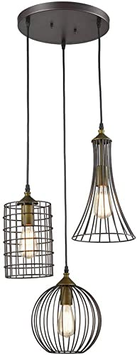 SH-63506,Nordic Modern Simple Chandelier,Metal Pendant Lights,Bird Cage Shape Chandeliers with 3 Lights for Dining Hall,Restaurant,Living Room