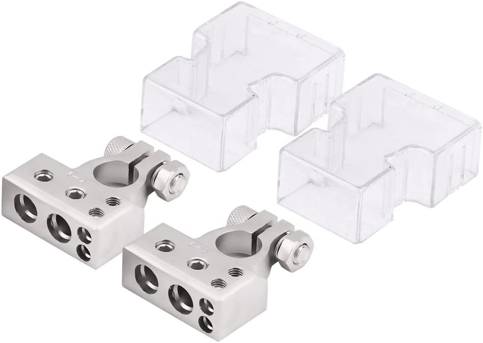 0//4//8 Awg Gauge 2x Car Positive Negative Battery Terminal Clamp Connector Silver