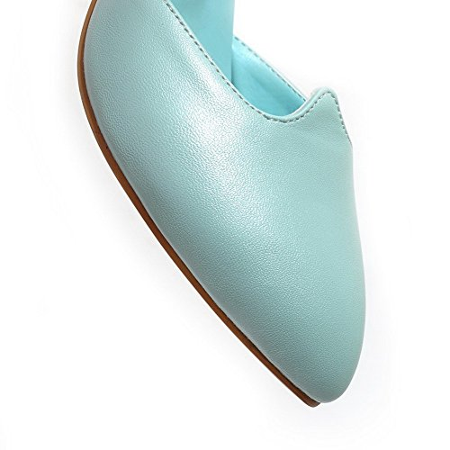 Solid Shoes Heels Toe Womens Material Closed Buckle Pointed Blue Soft Pumps AmoonyFashion Kitten qxBPaHzwa