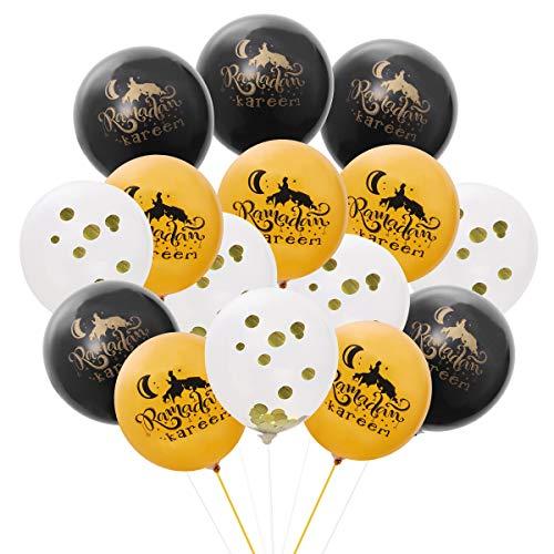 Amosfun 15pcs Eid Latex Balloon Confetti Balloons Set for Party Festival Gathering Ramadan Decorations