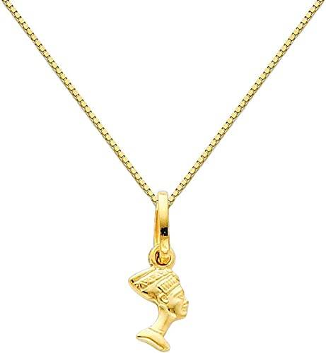 14k Yellow Gold Dolphin Pendant with 0.65mm Box Link Chain Necklace