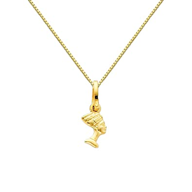Amazon 14k yellow gold queen nefertiti charm pendant with 065 14k yellow gold queen nefertiti charm pendant with 065mm box link chain necklace 16quot mozeypictures Choice Image
