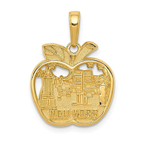 14k Yellow Gold New York City Skyline In Apple Pendant Charm Necklace Travel Transportation Fine Jewelry Gifts For Women For Her