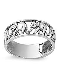 CHOOSE YOUR COLOR Sterling Silver Elephant Ring