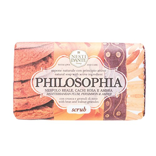 Nesti Dante Philosophia Natural Soap, Scrub/Mediterranean Plum/Persimmon and Amber With Bran and Walnut Granules, 8.8 Ounce