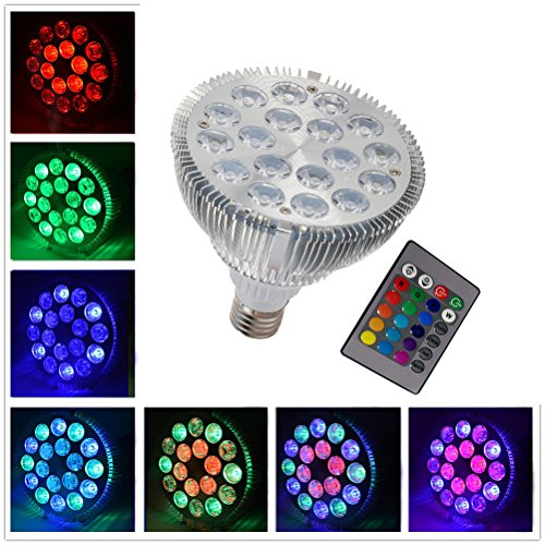 1000 Remote Control Spotlight (RAYWAY Par38 Led light bulb 18W Dimmable RGB Spotlight Color Changing Reflector LED Mood Light Bulbs for Birthday Party Decor with Remote)