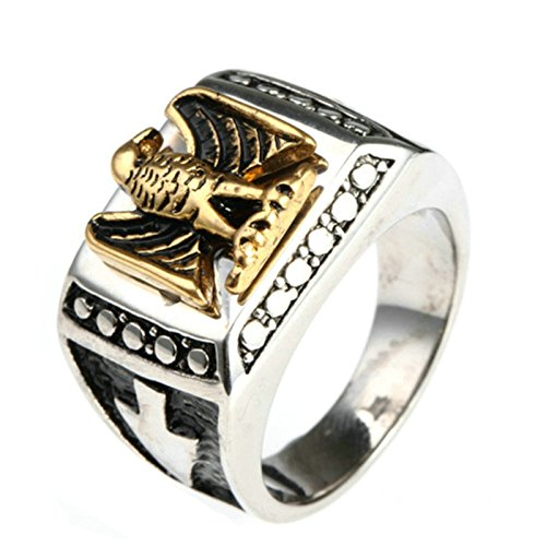 MoAndy Men Stainless Steel Vintage Retro Silver Badge Eagle Ring 6MM Size 11