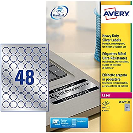 Avery España L6129-20 - Pack de 20 folios de etiquetas de ...