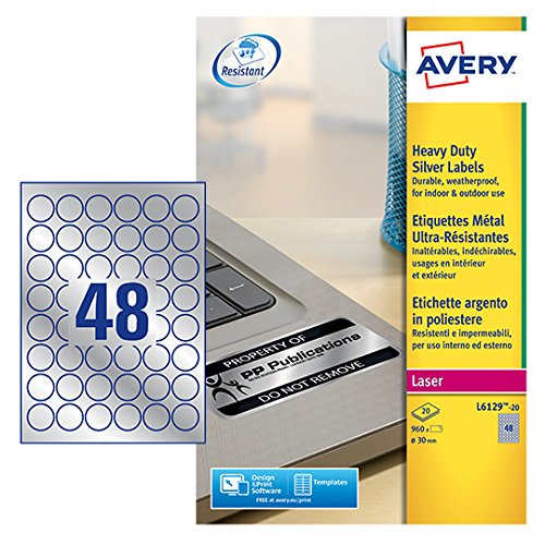 Avery UK 30mm Round Heavy Duty Label - Silver (20 Sheets)