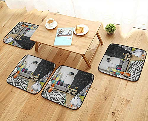 UHOO2018 Fillet Chair Cushion Spacious Child Room with Window Sack Chair Regale Sofa Carpet Chalkboard Suitable for The Chair W13.5 x L13.5/4PCS Set