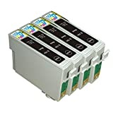 4 Pack - Remanufactured Ink Cartridges for Epson #79 T079 T079120 Inkjet Cartridge Compatible With Epson Artisan 1430 Stylus Photo 1400 (4 Black) Ink & Toner 4 You ®