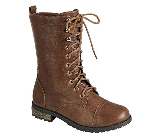 Top Moda Frauen-Pack-72 Lace Up Combat Boot Braun 34