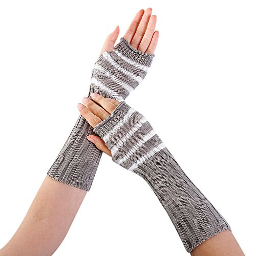 Striped Nylon Gloves (URIBAKE Women's Arm Warmer Knitted Solid Striped Fingerless Winter Thermal Gloves Mittens Knitwear)