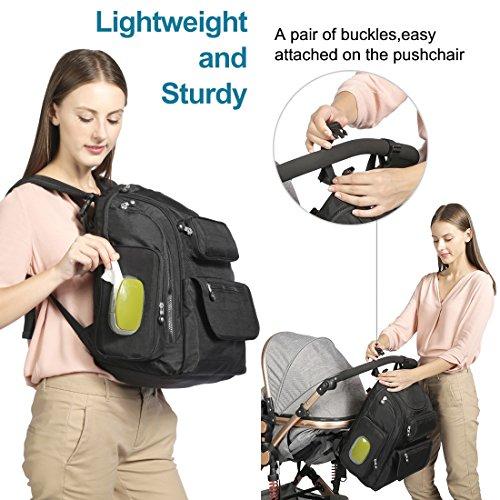 Cambio mochila bolsa de bebé pañales para pañales ligero impermeable grande viaje mochila cambiador Premium Oxford correas para el carrito Hombres Ladies negro negro negro