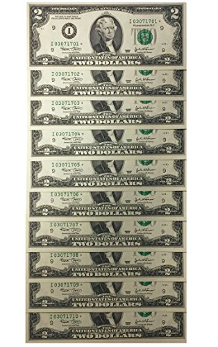 - 10 Consecutive Serial # Uncirc. $2 (2003) BILL * STAR * NOTES in 10-Page ALBUM