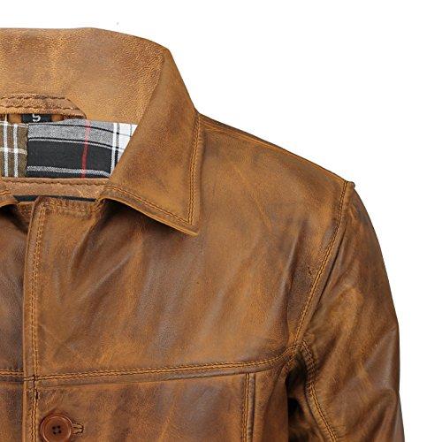 marrón Xposed 4 Chaqueta Abrigo Vintage nbsp;Real color de Reefer nbsp;botón Classic piel nbsp;– xqqwXCA