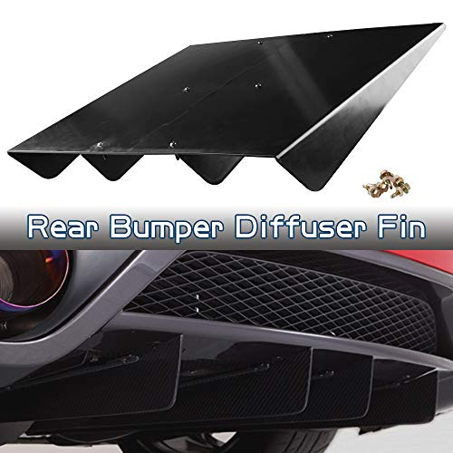 Ruien ABS Rear Bumper 4 Shark Fins Diffuser Fin Car Spoiler Decoration Black Universal