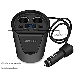 New Car Cup Charger 2 Socket Cigarette Lighter Splitter USB Car Charger 12V/24V Multi-Function Car Power Adapter with 3.1A Dual USB Ports with Phone Bracket Mount Holder free gift
