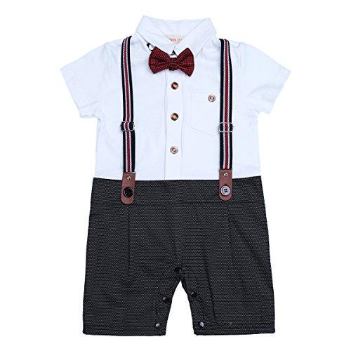 Baby Boys Gentleman Jumpsuit (White Black) - 9
