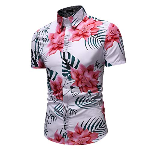 iHPH7 Shirts Hipster Hip Hop Casual Short Sleeve Button Down Summer Fashion Business Leisure Printing Shirt Top Blouse Men (XXL,6- Red)]()