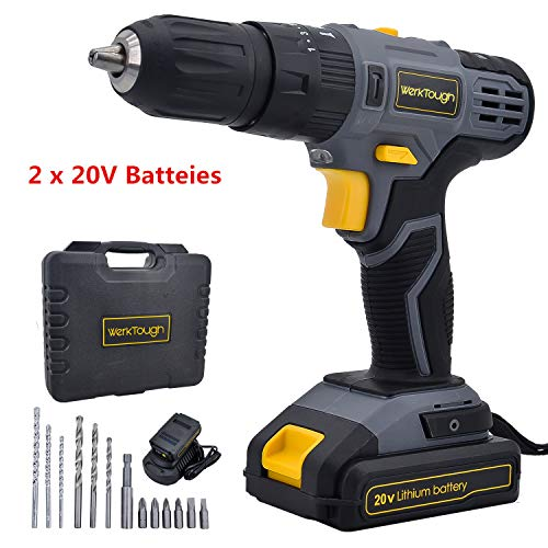 Werktough D023 20V Cordless Drill Driver Powerful Screwdriver 2×2.0Ah Li-ion Battery Platform With Charger (D023-I)