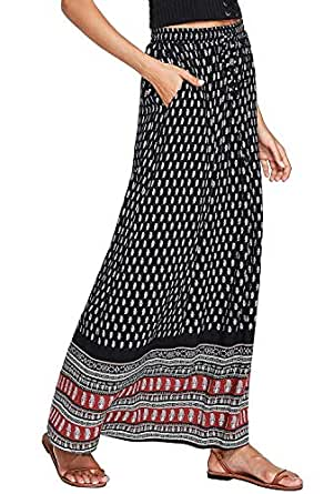 Milumia Women's Boho Vintage Print Pockets A Line Maxi Skirt X-Small Multicolor-1