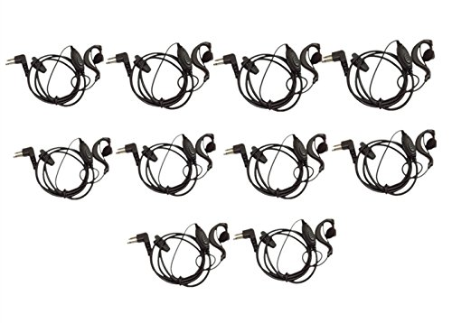 (2 Pin Earpiece, Lsgoodcare G Shape Soft Ear Hook Headset Earphone PTT Mic Compatible for Motorola Talkabout 2 Two Way Radio GP300 GP88 GP600 CP200 GP2000 Walkie Talkie,Pack of 10)