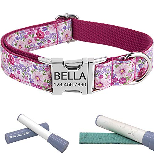 Personalized Dog Collar/Premium Custom Dog Collar with Name Plated/Stainless Steel Quick Release Buckle/Fashion Patterns Dog Collars/Laser Engraved/Pink Flower Pattern in XS,S,M,L,XL