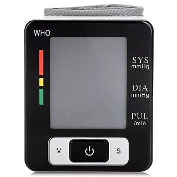 YHMMOO Nuevo Tensiómetro de Muñeca Precisas con Gran Pantalla LCD y Detección del Pulso Arrítmico y Función de Voz, 2 x 99 Memoria,Black: Amazon.es: ...