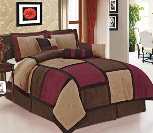 (Legacy Decor 7-piece Burgundy Brown Beige Micro Suede Patchwork Comforter Set Machine Washable Full Size, Bed-in-a)