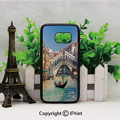 Cityscape on a Sunny Day with Rialto Bridge Venetian Grand Canal Travel Destination Samsung S7 Case for Girls Women Hard Back Shock Drop Proof Impact Resist Protective Case for Samsung S7 Multicolor ()