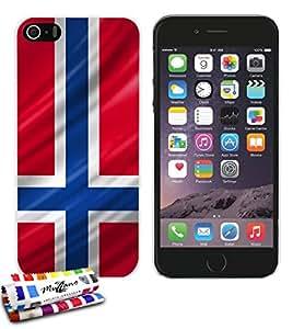 Carcasa Rigida Ultra-Slim APPLE IPHONE 5S / IPHONE SE de exclusivo motivo [Noruega Bandera] [Blanca] de MUZZANO  + ESTILETE y PAÑO MUZZANO REGALADOS - La Protección Antigolpes ULTIMA, ELEGANTE Y DURADERA para su APPLE IPHONE 5S / IPHONE SE