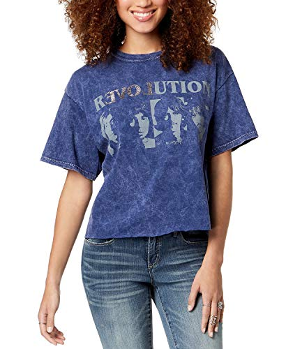 True Vintage Women's Cotton Beatles-Graphic T-Shirt Blue Nights ()
