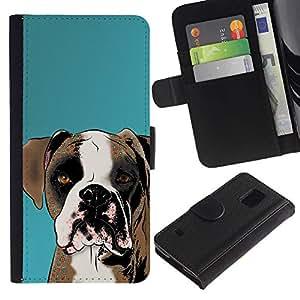 All Phone Most Case / Oferta Especial Cáscara Funda de cuero Monedero Cubierta de proteccion Caso / Wallet Case for Samsung Galaxy S5 V SM-G900 // Boxer Art Drawing Dog Brown White