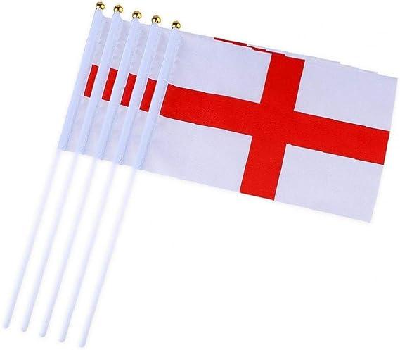Banderas Pequeñas,Banderas de Mano,Bandera de Inglaterra con 14 x 21 CM Juego de 10 PCS Mini Bandera Nacional Mini Bandera Inglaterra: Amazon.es: Deportes y aire libre