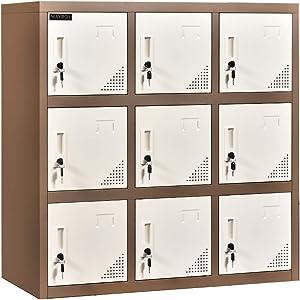Metal Locker Office Storage Locker Home Steel Locker School Storage Organizer, Storage Cabinet for Kids Students Employee (White, W9D)