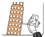 Mouse Pads - Pisa Tower Tourist Picture Funny Architecture