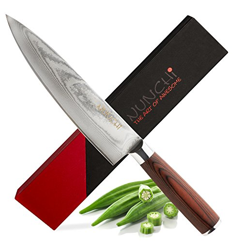 Sharp As F@$& - Professional Japanese 8 Inch Chef Knife with VG-10 Stainless Steel - Chefs Kitchen Knives with Damascus Blade and No-Slip Pakkawood Handle