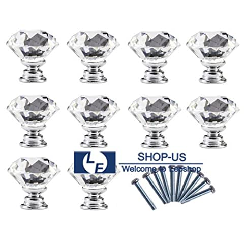 10Pcs Crystal Glass Cabinet Knob Diamond Shape 30mm Drawer Cupboard Handle Pull - Close Damper Pull