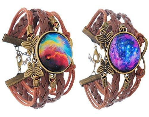 MJartoria Love Across Light Years PU Leather Braid Infinity Charm Galaxy Cabochon Wrap Bracelet Set of 2