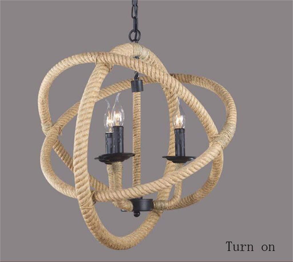 FJTXC Energiesparender Kronleuchter, Minimalist Shades Dangle Lights, Schmiedeeisen-Kronleuchter im industriellen Stil Lounge Rope Kronleuchter Effizienz  A +++