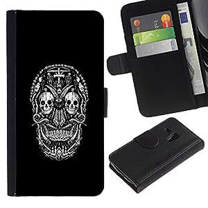 Samsung Galaxy S3 MINI / i8190 (Not For Galaxy S3) , la tarjeta de Crédito Slots PU Funda de cuero Monedero caso cubierta de piel (Dark Goth Sugar Skull)