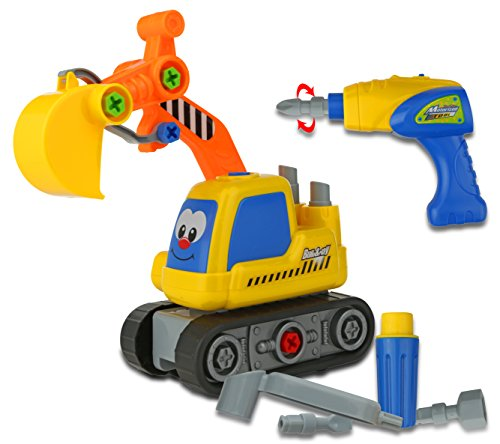 Advanced Play Construction Excavator Take Apart Truck Toy for Preschool children Equipped With Play Power Tools for kids such as Electric Drill and Various Tools Moves and Rides On It Own for Toddlers Build Toy Truck