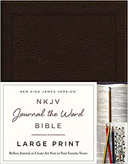 NKJV, Journal the Word Bible, Large Print, Bonded Leather, Brown