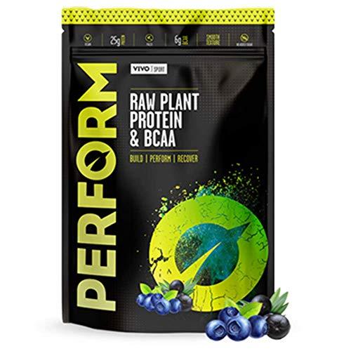 Vivo Life Perform – Raw Vegan Acai & Blueberry Protein Powder | Pea & Hemp Protein Blend with BCAA | Gluten & Soy Free Protein Shake (988 Gram) | 26 Servings