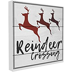 The Stupell Home Décor Collection Reindeer Crossing Sign Stretched Canvas Wall Art, 17 x 17